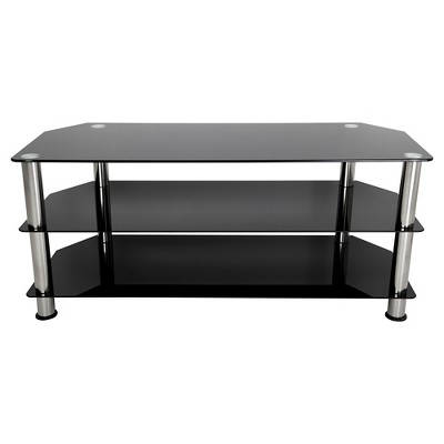 "55"" TV Stand with Glass Shelves - Silver/Black"