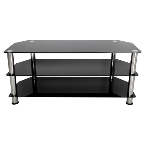 """55"""" TV Stand with Glass Shelves - Silver/Black - image 1 of 3"""
