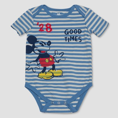 Junk Food Baby Boys' Disney Mickey Mouse Striped Bodysuit - Blue 6-9M
