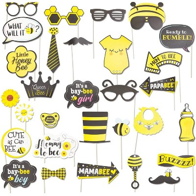 Sparkle and Bash 30-Pack Bumblebee Photo Booth Props Kit, Honey Bee Theme Selfie Props for Baby Shower Birthday Party