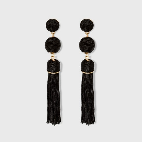 SUGARFIX by BaubleBar Monochrome Tassel Drop Earrings - Black - image 1 of 2