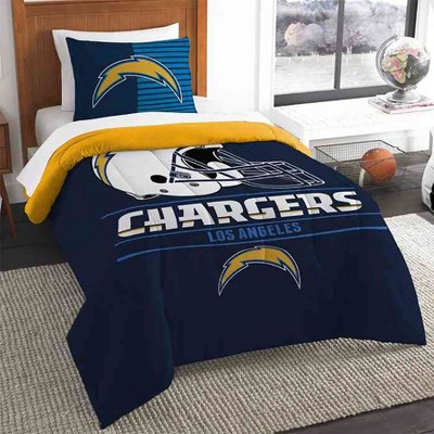 NFL San Diego Chargers Bed Comforter Set Football Team Logo Silhouette Stripe Bedding