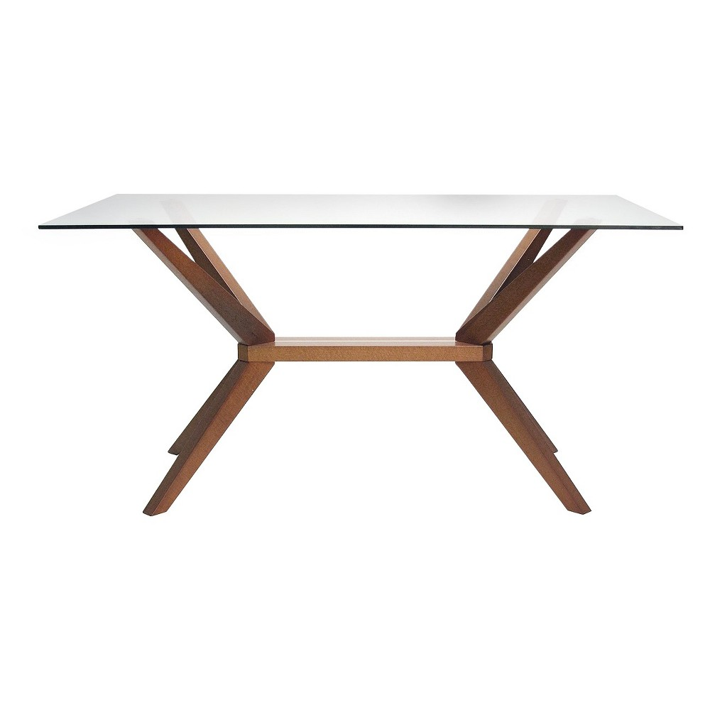 Greenwich Dining Table with Glass Top - Walnut (Brown) - Aeon