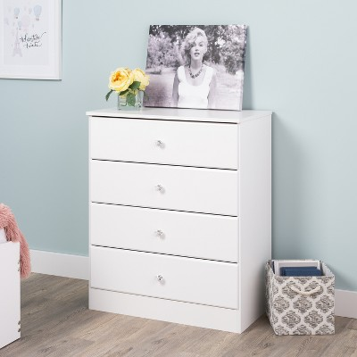 Astrid 4 Drawer Dresser with Crystal Knobs White - Prepac