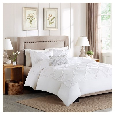 Zoey 4 Piece Cotton Percale Duvet Cover Set - White (Full/Queen)