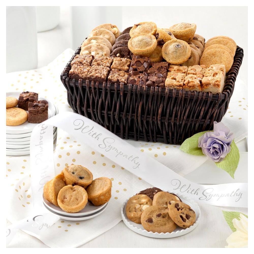 Mrs. Fields Sympathy Bite Sized Bounty Basket 24 Nibblers-18 Brownie Bites And 12 Mini Muffins