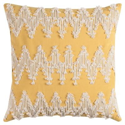 Rizzy Home Frayed Chevron Throw Pillow Yellow