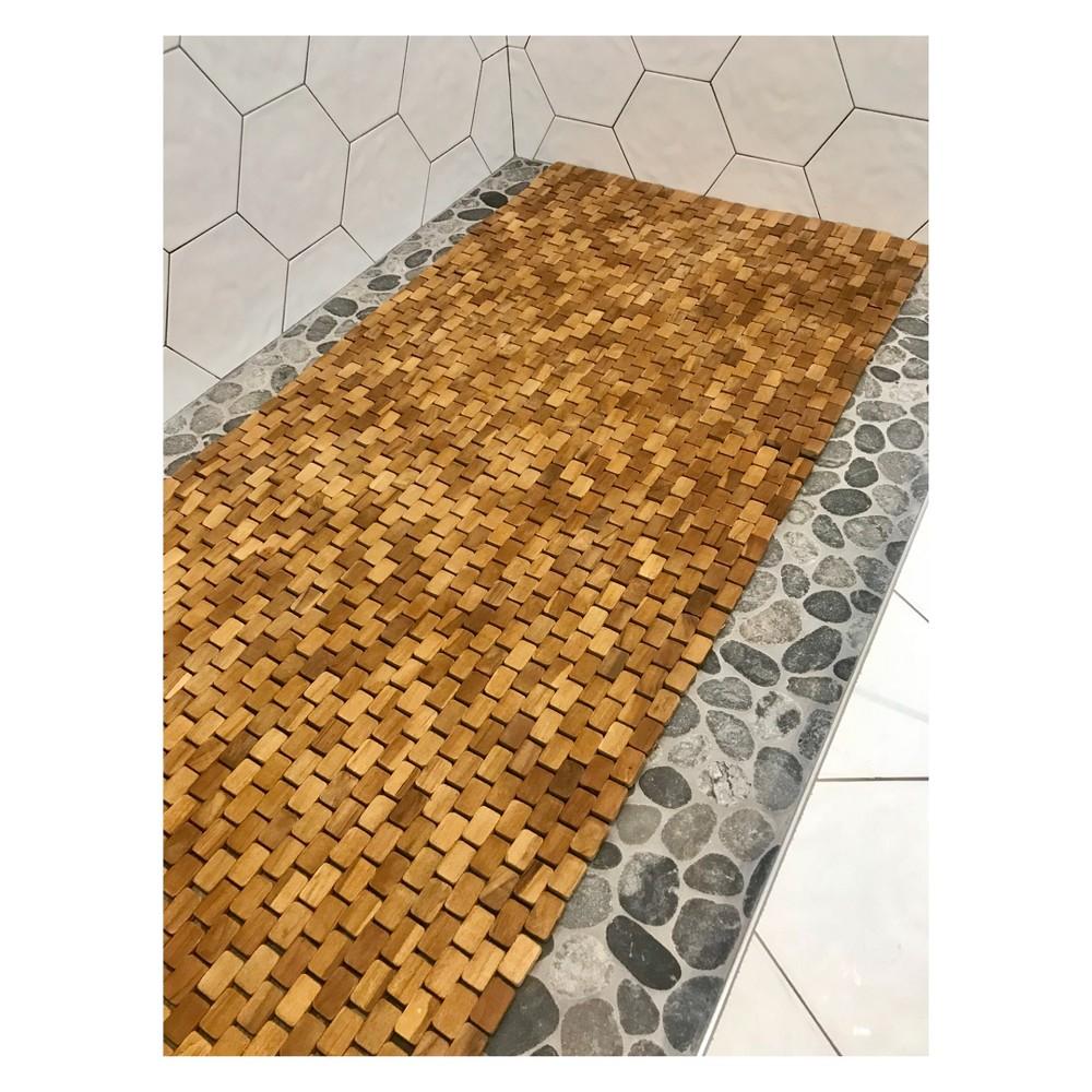 Image of Teak Bath Floor Mat Runner Caramel - Hip-o Modern Living, Brown