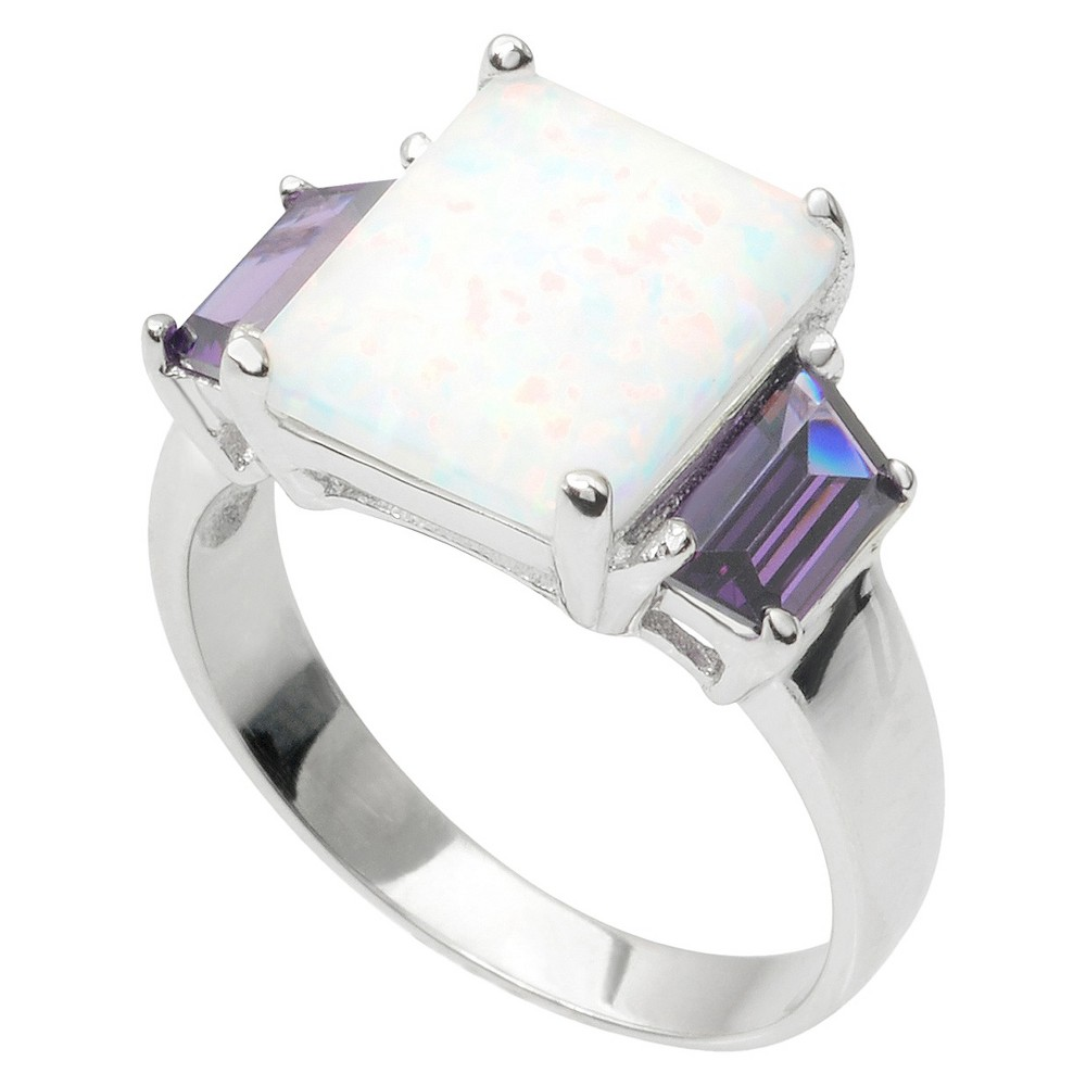 1 1/8 CT. T.W. Journee Collection Baguette Cut CZ Ring in Sterling Silver - White/Purple (7)