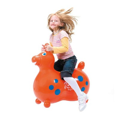 Gymnic 8005 Rody Horse Baby Ride On Latex Free Vinyl Toddler Rocking Toy, Orange