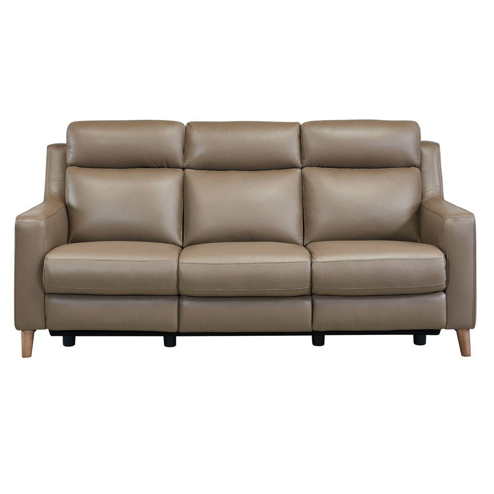Image of Wisteria Contemporary Leather Power Recliner Sofa with USB Taupe - Armen Living