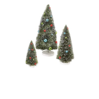 """Ganz Set of 3 Glitter Frosted Tabletop Christmas Tree Decorations  17"""""""