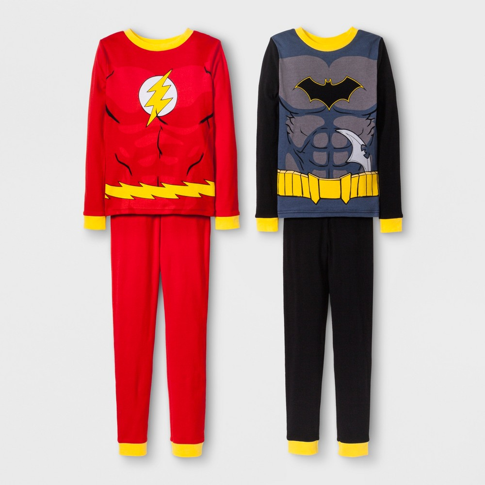 Boys' Justice League Batman and Flash 4pc Pajama Set - Red/Black 10, Multicolored