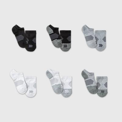 Kids' 6pk No Show Athletic Socks - All in Motion™ White/Gray