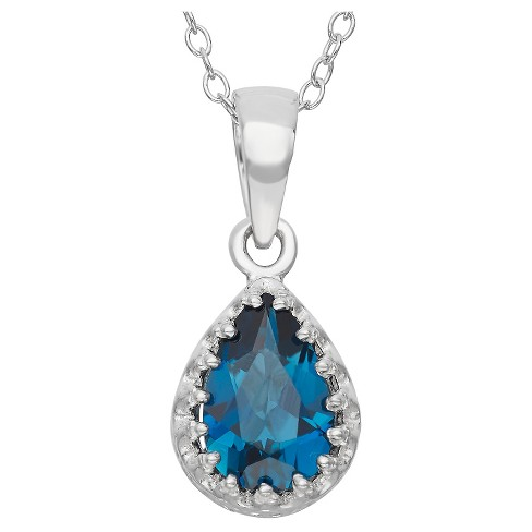 Pear-Cut London Blue Topaz Crown Pendant in Sterling Silver - image 1 of 1