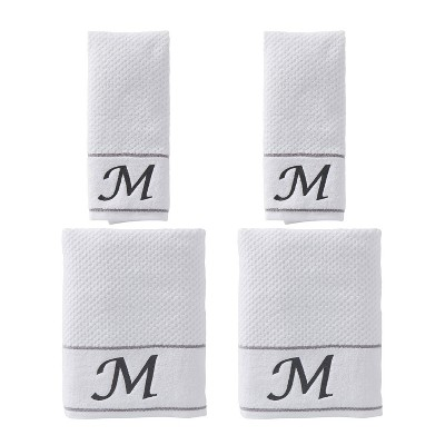 "4pc ""M"" Monogram Bath/Hand Towel Set White - SKL Home"