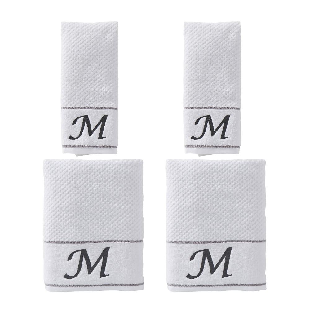 "Image of ""4pc """"M"""" Monogram Bath/Hand Towel Set White - SKL Home"""