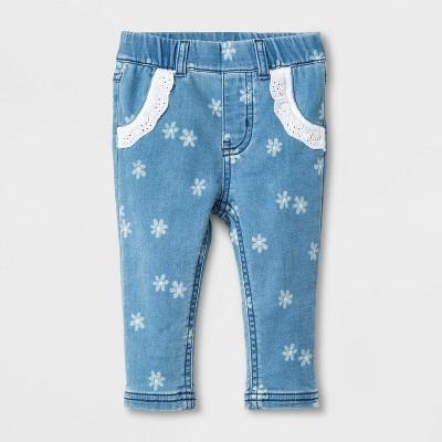 Baby Girls' Floral Denim Pants with Eyelet Pocket - Cat & Jack™ Blue 3-6M