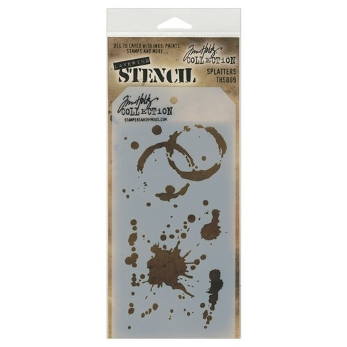 "Tim Holtz Layered Stencil Splatters-White 4.125""x8.5"" - image 1 of 2"