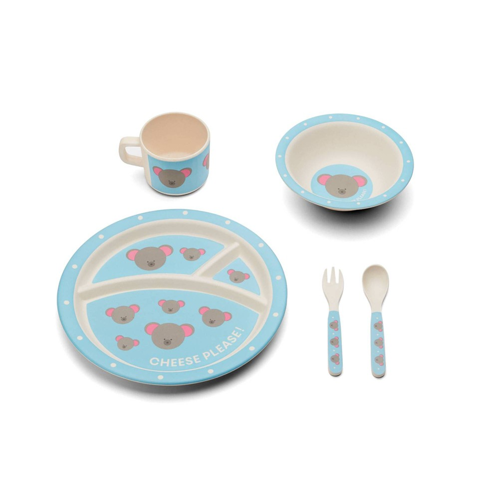 Image of 5pc Bamboo Fiber Mouse Dinnerware Set Blue - Red Rover