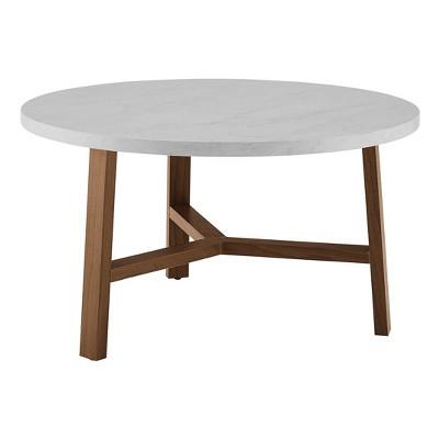 "30"" Modern Round Y Leg Coffee Table Faux White Marble - Saracina Home"