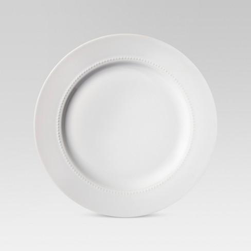"""11"""" Porcelain Beaded Dinner Plate White - Threshold™ - image 1 of 1"""