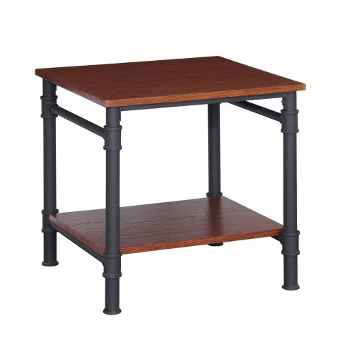 Cagny Industrial Wood End Table Teak Christopher Knight Home Target
