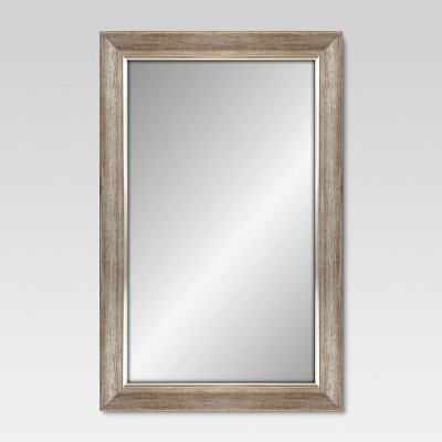 Rectangle Decorative Wall Mirror White Finish with Silver Trim - Threshold™