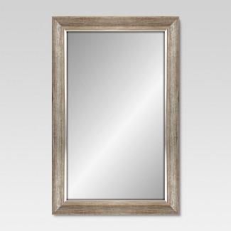 "Rectangular Mirror Dark Silvertone Finish with Silver Filet 24""x36 - Threshold™"