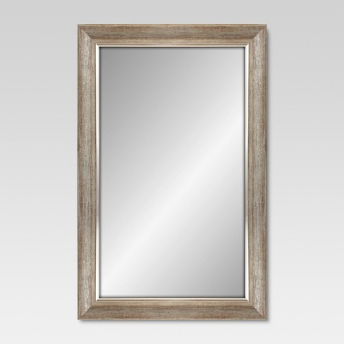 Rectangle Decorative Wall Mirror White Finish With Silver Trim Threshold