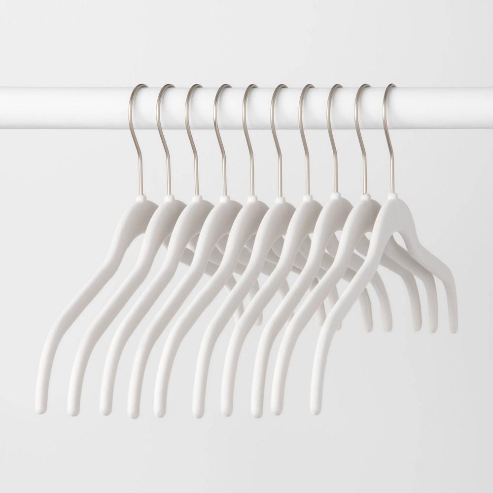 Image of 10pk Shirt Hanger Nickel Hook Matte White - Made By Design
