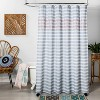 Wood Block Ogee Print With Embroidery Shower Curtain Blue - Opalhouse™ - image 2 of 3