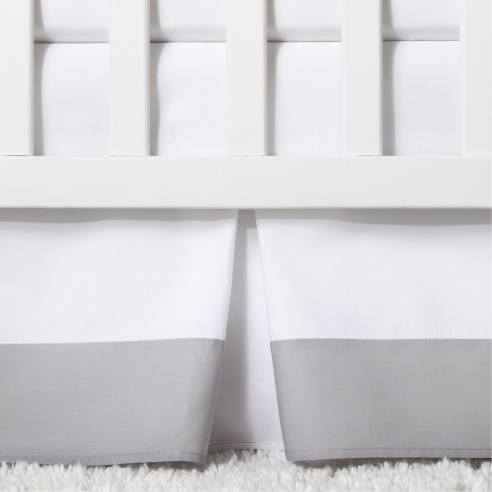 Image of Crib Skirt Pleated - Cloud Island Gray, White Gray