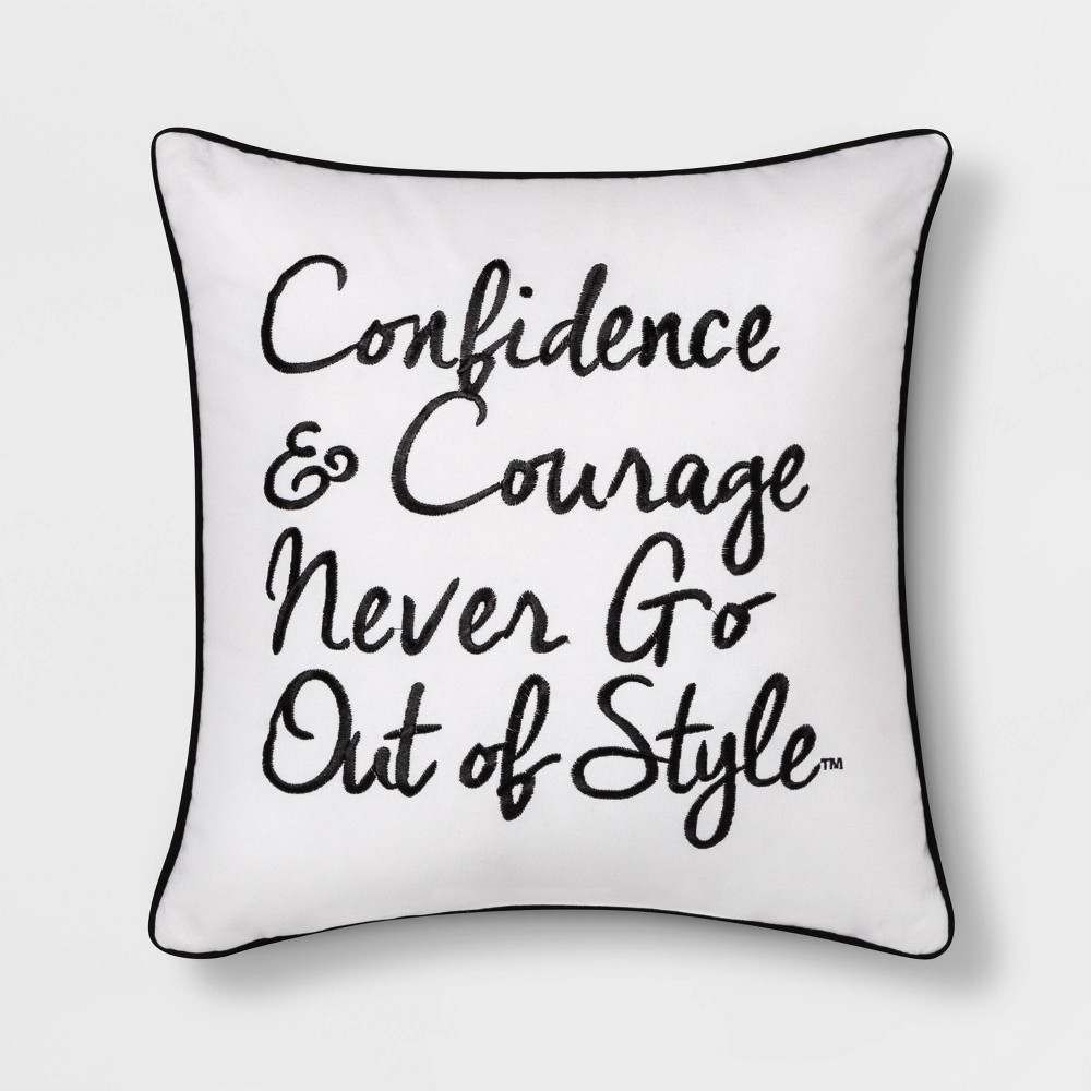 "Image of ""Boy Meets Girl Confidence & Courage 18""""x18"""" Throw Pillow, White"""