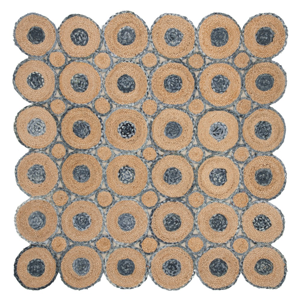 6'X6' Solid Woven Square Area Rug Blue/Natural - Safavieh