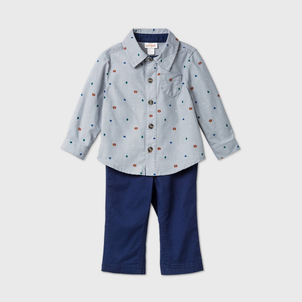 Reviews Baby Boys' 2pc Critter Twill Top & Bottom Set - Cat & Jack™