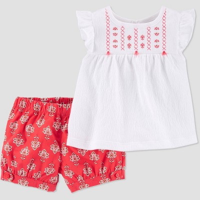 Baby Girls' 2pc Geometric Top & Bottom Set - Just One You® made by carter's White 3M