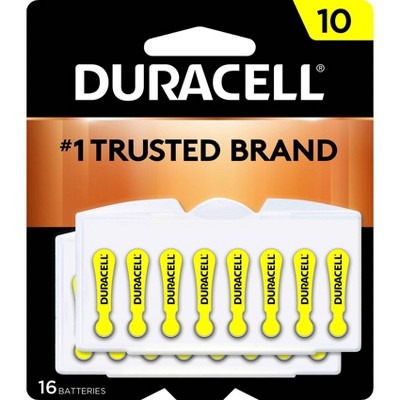 Duracell Size 10 Hearing Aid Batteries - 16 Pack - Easy-Fit Tab