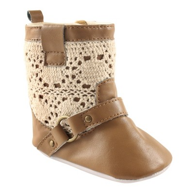 Luvable Friends Baby Girl Crib Shoes, Tan Lace