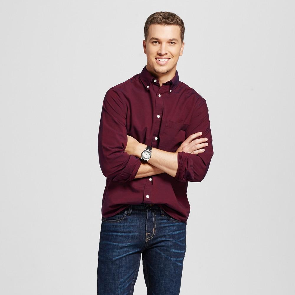 Men's Button Down Shirt Red S - Merona