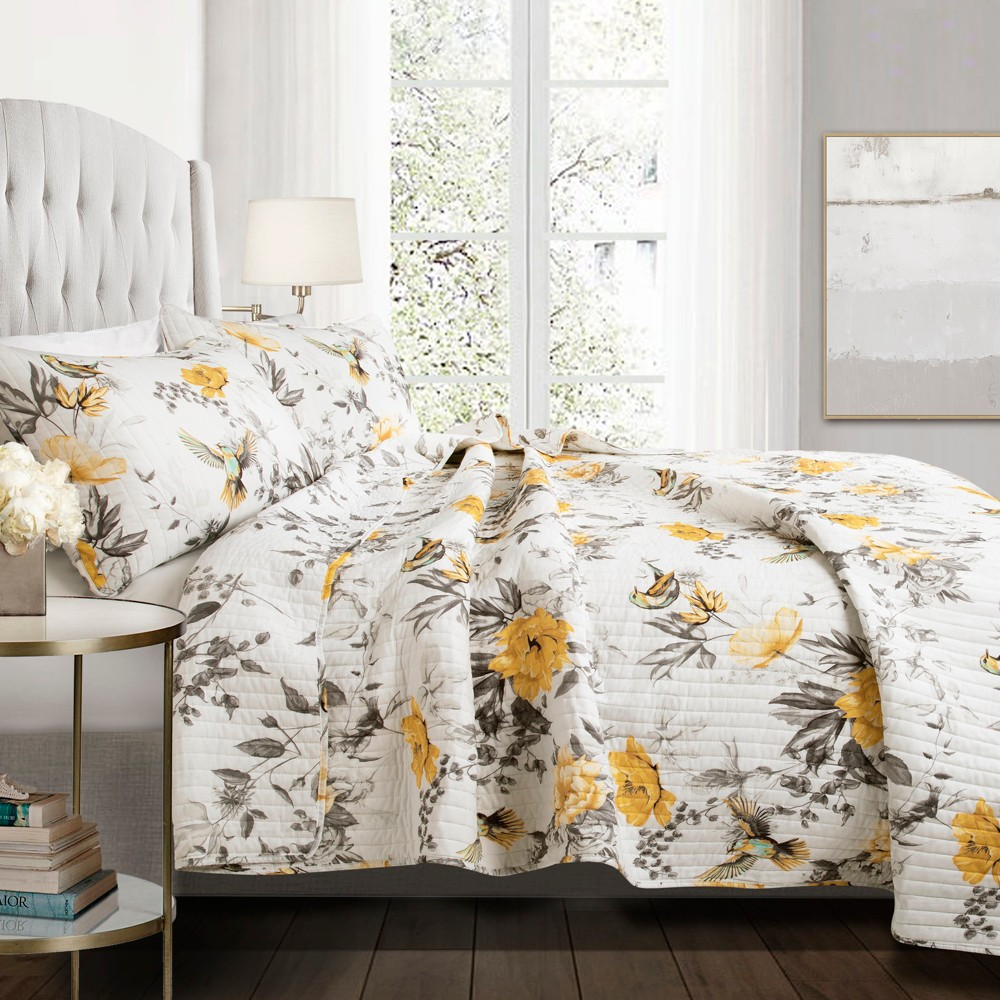 Full/Queen 3pc Penrose Floral Quilt Set Yellow/Gray - Lush Décor