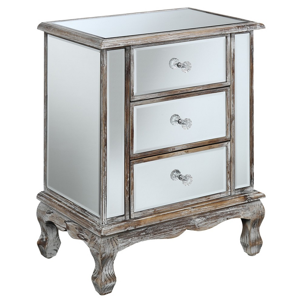Gold Coast Vineyards 3 Drawer Mirrored End Table Weathered White Medium Convenience Concepts, Gray