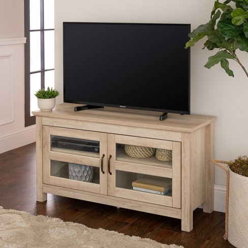 44 Wood Tv Stand Storage Console White Oak Saracina Home Target