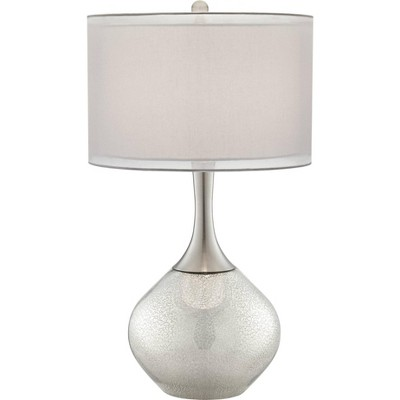 Possini Euro Design Modern Table Lamp Mercury Glass Silver Sheer Twin Drum Shade for Living Room Family Bedroom Bedside Nightstand