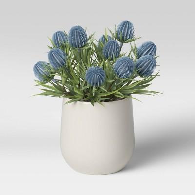 "8.5"" x 6.5"" Artificial Thistle Plant Arrangement in Ceramic Pot White - Threshold™"