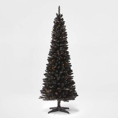 6ft Pre-lit Shiny Black Alberta Spruce Artificial Tree Clear Lights - Wondershop™