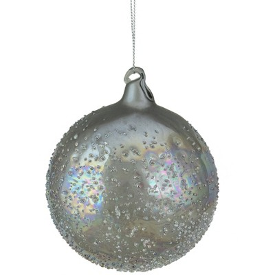 "Northlight 4"" Silver Iridescent Glass Ball Christmas Ornament"