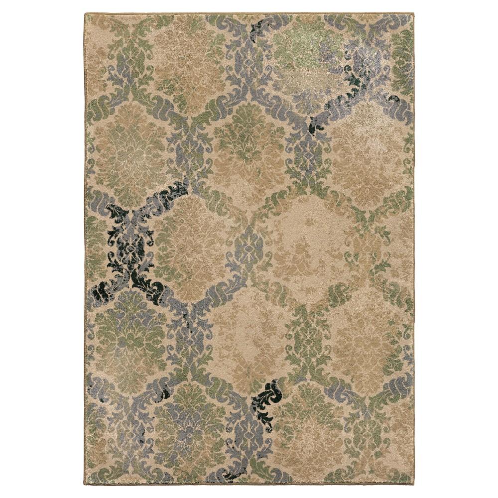 Green Abstract Woven Area Rug - (7'10