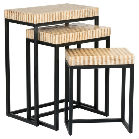 Tempe Rectangular Wood And Capiz Accent Nesting Table - Gold - East At Main - image 1 of 6