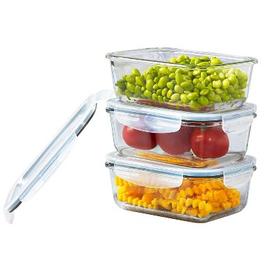 Mason Craft & More 24oz Set of 3 Rectangular Food Storage Containers with Lids